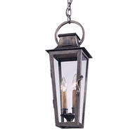 F2966 Troy Hand-Forged Iron Exterior Parisian Square 2Lt Hanging Lantern Medium with Aged Pewter Finish