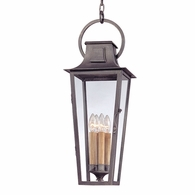 F2967 Troy Hand-Forged Iron Exterior Parisian Square 4Lt Hanging Lantern Large with Aged Pewter Finish
