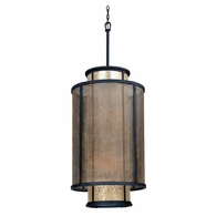 F3104 Troy Hand-Worked Iron Interior Copper Mountain 8Lt Pendant Entry with Copper Mountain Bronze Finish