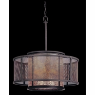 F3105 Troy Hand-Worked Iron Interior Copper Mountain 6Lt Pendant Dining with Copper Mountain Bronze Finish