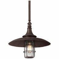 F3229 Troy Hand-Worked Iron Exterior Allegheny 1Lt Hanger 1Lt Hanger Large with Centennial Rust Finish