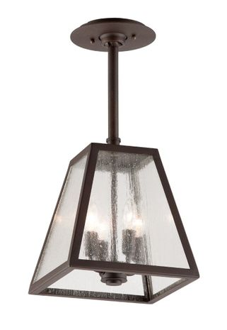 F3437-C Troy Hand-Worked Iron Exterior Amherst 4Lt Hanger Large with River Valley Rust Finish
