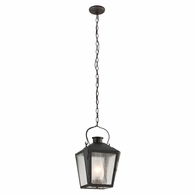 F3766CI Troy Solid Brass Exterior Nantucket 1Lt Hanging Lantern Medium with Charred Iron Finish
