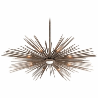 F4138 Troy Hand-Worked Iron Interior Blink 8Lt Pendant Extra Large with Light Cottage Bronze Finish