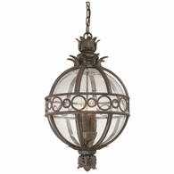 F5008CB Troy Hand-Worked Iron And Aluminum Exterior Campanile 3Lt Hanging Lantern Large with Campanile Bronze Finish