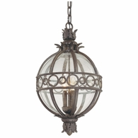 F5009CB Troy Hand-Worked Iron And Aluminum Exterior Campanile 4Lt Hanging Lantern Extra Large with Campanile Bronze Finish