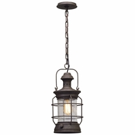 F5057 Troy Hand-Worked Iron Exterior Atkins 1Lt Hanger Lantern Medium with Centennial Rust Finish