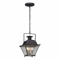 F5077CI Troy Solid Brass Exterior Wellesley 3Lt Hanger Lantern Small with Charred Iron Finish