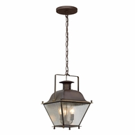 F5077NR Troy Solid Brass Exterior Wellesley 3Lt Hanger Lantern Small with Natural Rust Finish