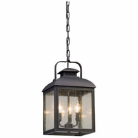 F5087 Troy Solid Aluminum Exterior Chamberlain 3Lt Hanger Lantern Medium with Vintage Bronze Finish