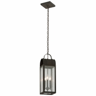 F5097CI Troy Solid Brass Exterior Bostonian 3Lt Hanger Lantern Medium with Charred Iron Finish