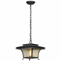 F5147 Troy Hand-Forged Iron And Aluminum Exterior Grammercy 1Lt Hanger Lantern Medium with Forged Iron Finish