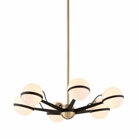 F5303 Troy Hand-Worked Iron Interior Ace 6Lt Chandelier Small with Textured Bronze Brushed Brass Finish