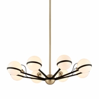F5304 Troy Hand-Worked Iron Interior Ace 8Lt Chandelier Medium with Textured Bronze Brushed Brass Finish