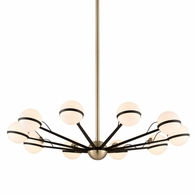 F5306 Troy Hand-Worked Iron Interior Ace 10Lt Chandelier Large with Textured Bronze Brushed Brass Finish