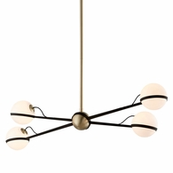 F5307 Troy Hand-Worked Iron Interior Ace 4Lt Island with Textured Bronze Brushed Brass Finish