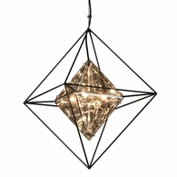 F5325 Troy Hand-Worked Iron Interior Epic 4Lt Pendant Small with Forged Iron Finish
