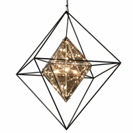 F5327 Troy Hand-Worked Iron Interior Epic 8Lt Pendant Large with Forged Iron Finish