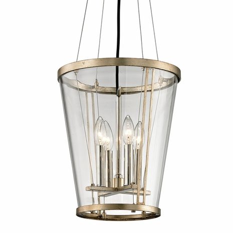 F5844 Troy Hand-Worked Iron Interior Trapeze 4Lt Pendant with Champagne Silver Leaf Finish