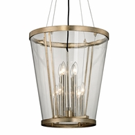 F5848 Troy Hand-Worked Iron Interior Trapeze 8Lt Pendant with Champagne Silver Leaf Finish