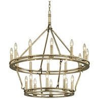 F6248 Troy Hand-Worked Iron Interior Sutton 20Lt Chandelier with Champagne Silver Leaf Finish