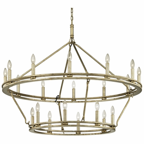 F6249 Troy Hand-Worked Iron Interior Sutton 20Lt Chandelier with Champagne Silver Leaf Finish