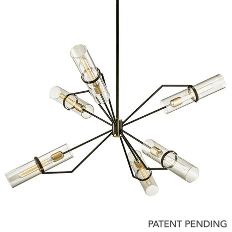F6318 Troy Exterior Raef 6Lt Chandelier with Textured Bronze Brushed Brass Finish