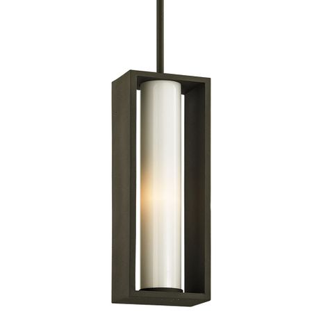 F6497 Troy Solid Aluminum Exterior Mondrian 1Lt Hanger with Textured Bronze Finish