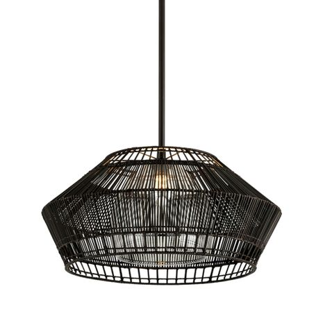 F6724 Troy Hand-Worked Iron Interior Hunters Point 1Lt Pendant with Espresso Finish