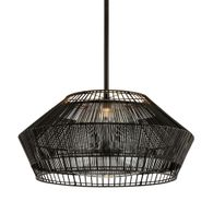 F6725 Troy Hand-Worked Iron Interior Hunters Point 1Lt Pendant with Espresso Finish