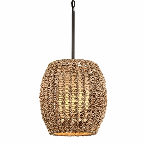 F6754 Troy Hand-Worked Iron Interior Conga 1Lt Pendant with Tidepool Bronze Finish