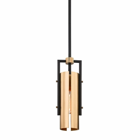 F6783 Troy Hand-Worked Iron And Brass Interior Emerson 1Lt Mini Pendant with Carbide Black & Brushed Brass Finish