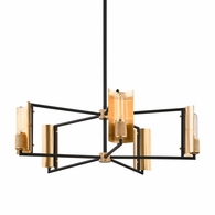 F6785 Troy Hand-Worked Iron And Brass Interior Emerson 5Lt Chandelier with Carbide Black & Brushed Brass Finish