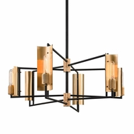 F6786 Troy Hand-Worked Iron And Brass Interior Emerson 6Lt Linear with Carbide Black & Brushed Brass Finish