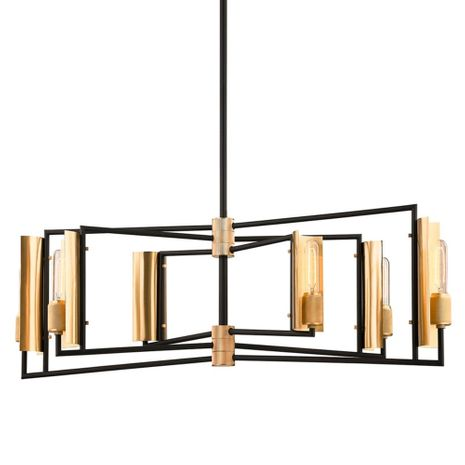 F6787 Troy Hand-Worked Iron And Brass Interior Emerson 6Lt Linear with Carbide Black & Brushed Brass Finish