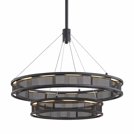 F6864 Troy Hand-Worked Iron Interior Fuze 1Lt Pendant with Modern Bronze Finish