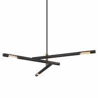 F6886 Troy Hand-Worked Iron Interior Hendrix 3Lt Pendant with Chemical Bronze Finish