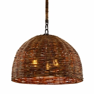 F6903 Troy Hand-Worked Iron Interior Huxley 3Lt Pendant with Tidepool Bronze Finish
