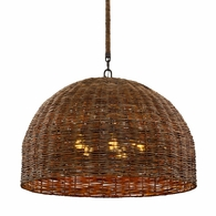 F6905 Troy Hand-Worked Iron Interior Huxley 5Lt Pendant with Tidepool Bronze Finish