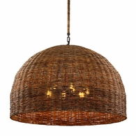 F6906 Troy Hand-Worked Iron Interior Huxley 6Lt Pendant with Tidepool Bronze Finish