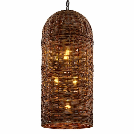 F6907 Troy Hand-Worked Iron Interior Huxley 5Lt Pendant with Tidepool Bronze Finish