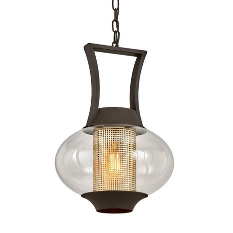 F7027 Troy Hand-Worked Iron And Brass Exterior Horton 1Lt Hanger with Texture Bronze Finish