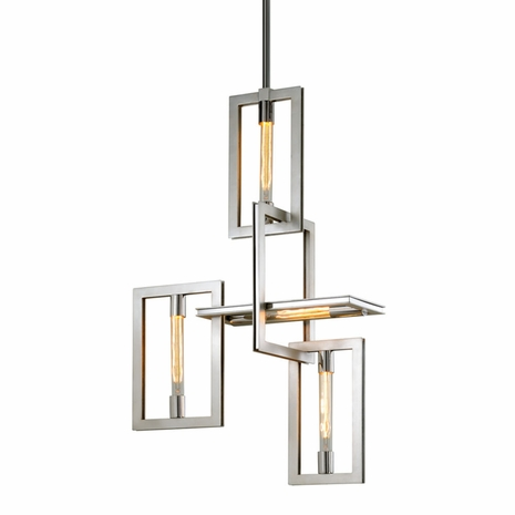 F7104 Troy Hand-Worked Iron Interior Enigma 4Lt Pendant with Silver Leaf w/Stainless Accents Finish