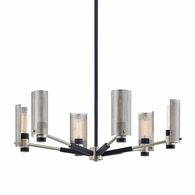 F7116 Troy Hand-Worked Iron Interior Pilsen 6Lt Chandelier with Carbide Black w/Satin Nickel Accents Finish