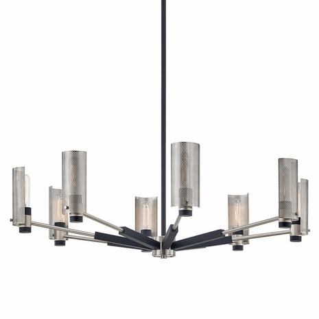 F7118 Troy Hand-Worked Iron Interior Pilsen 8Lt Chandelier with Carbide Black w/Satin Nickel Accents Finish