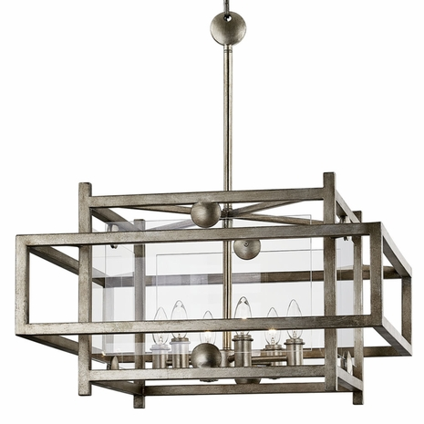 F7136 Troy Hand-Worked Iron Interior Crosby 6Lt Pendant Dining with Antique Silver Leaf Finish