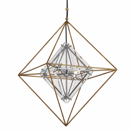 F7145 Troy Hand-Worked Iron Interior Epic 4Lt Pendant Small with Gold Leaf Finish