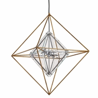 F7146 Troy Hand-Worked Iron Interior Epic 6Lt Pendant Medium with Gold Leaf Finish