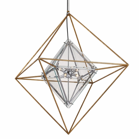F7147 Troy Hand-Worked Iron Interior Epic 8Lt Pendant Large with Gold Leaf Finish