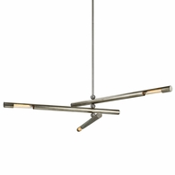 F7156 Troy Hand-Worked Iron Interior Hendrix 3Lt Pendant with Silver Leaf w/Nickel Accents Finish